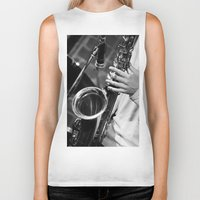 saxophone Biker Tanks featuring Jazz and Saxophone by cinema4design