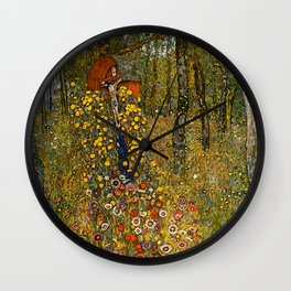 "Gustav Klimt ""Farm Garden with Crucifix "" Wall Clock"