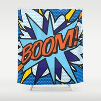 comic book Shower Curtains featuring Comic Book BOOM! by Thisisnotme