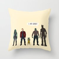 guardians of the galaxy Throw Pillows featuring GUARDIANS OF THE GALAXY by Kaitlin Smith