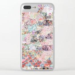 San Antonio map flowers Clear iPhone Case