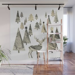 Winter Woods, collage Wall Mural
