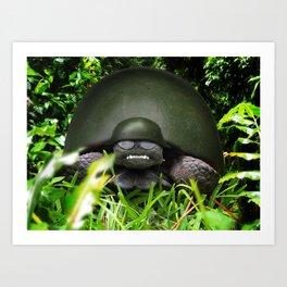 Slow Commando - Army Turtle Art Print