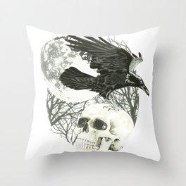 Raven on Skull Throw Pillow