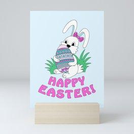Happy Easter with cute bunny kepping ornamental egg Mini Art Print