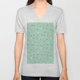 Pastel green ivory faux gold glitter abstract triangles Unisex V-Neck
