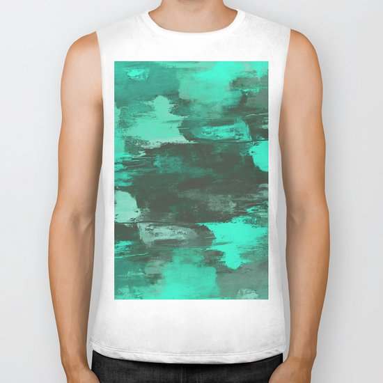 Chill Factor - Abstract cyan blue painting Biker Tank