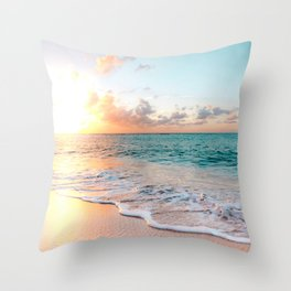 Tropical Sunset Beach, Sunset Photo Throw Pillow