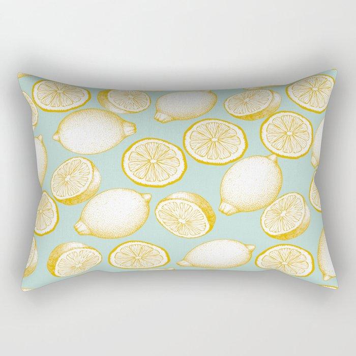 Lemons On Turquoise Background Rectangular Pillow