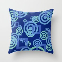 circles blue turquoise rectangles blue background Throw Pillow