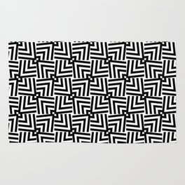 Black And White Op-Art Triangle Pattern Rug