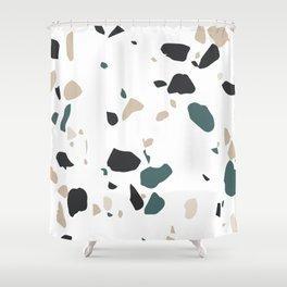 Terrazzo White Green Khaki Black Shower Curtain