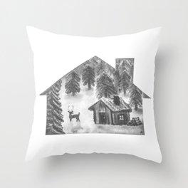 Cabin & Deer BW Throw Pillow