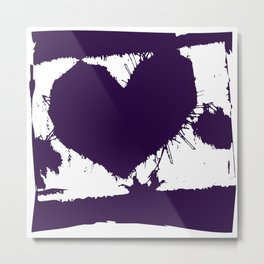 Purple Ink Multi Splatter Heart Design Metal Print
