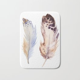 neutral feathers Bath Mat