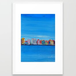 Willemstad Curacao Waterfront in Blue Framed Art Print