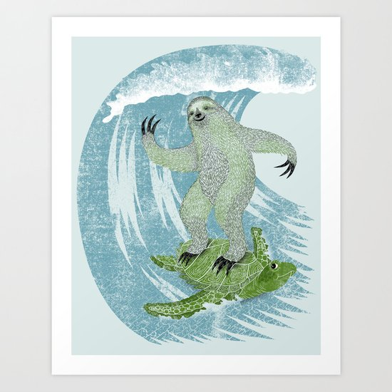 Surfin' Sloth Art Print