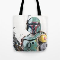 boba Tote Bags featuring Boba Fett by lunaevayg