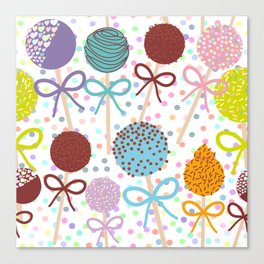 seamless pattern Colorful Sweet Cake pops set with bow on white polka dot background Canvas Print