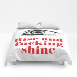 Rise and fucking shine - minimalistic typograhpic collage artprint Comforters