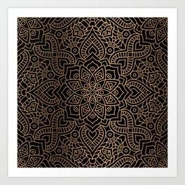 Black Gold Mandala Art Print