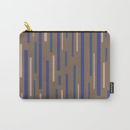 Interrupted Lines Mid-Century Modern Minimalist Pattern in Blue, Purple, Taupe, and Brown Carry-All Pouch