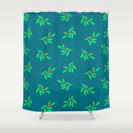 Christmas Holly Jolly Pattern Shower Curtain