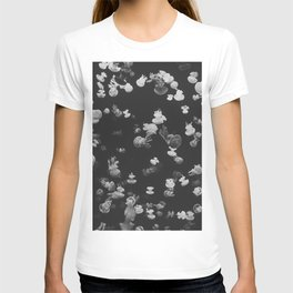 GRAYSCALE PHOTOGRAPHY OF SHOAL OF JELLYFISH T-shirt