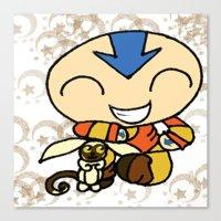 powerpuff girls Canvas Prints featuring PowerPuff Aang by auroranq