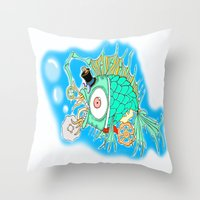 steam punk Throw Pillows featuring Whimsical Steam Punk Fish by J&C Creations