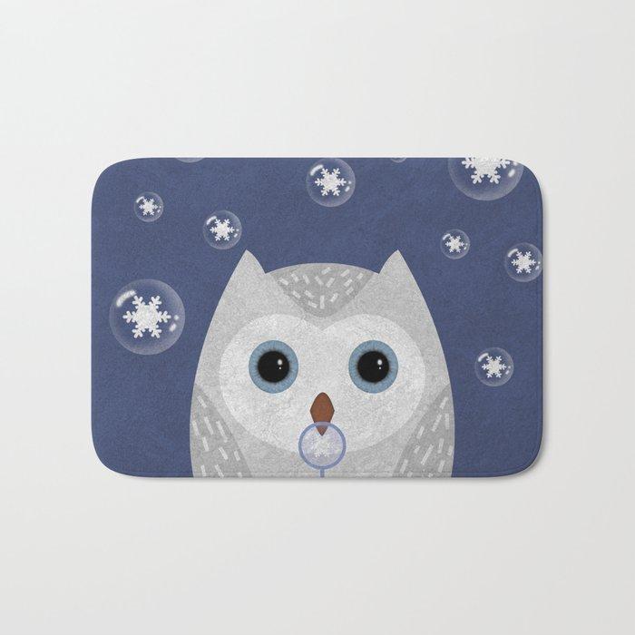 Christmas Owl Blue Marble Bath Mat
