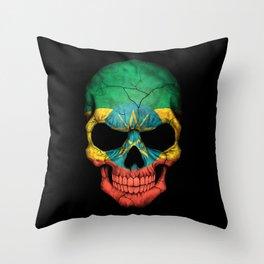 Dark Skull with Flag of Ethiopia Throw Pillow