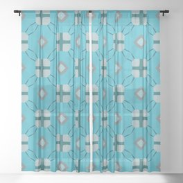 Strand blue and teal modern plus Sheer Curtain