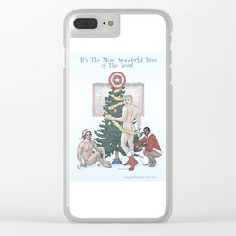 Team Cap Naughty Pinup Holiday Card Clear iPhone Case