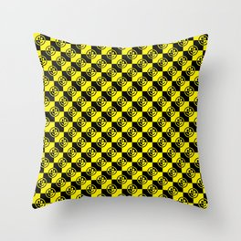 Yellow and Black Smiley Face Check Throw Pillow
