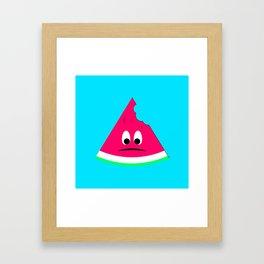 Cute sad bitten piece of watermelon Framed Art Print