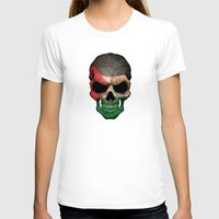 palestine T-shirts featuring Dark Skull with Flag of Palestine by Jeff Bartels