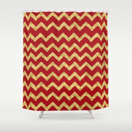 Chevron Red Gold Shower Curtain