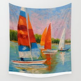 Sailboats on the river Wall Tapestry
