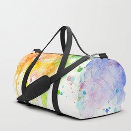 Rainbow Heart Watercolor Duffle Bag