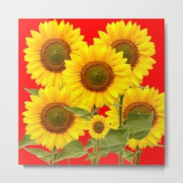 YELLOW-GREEN SUNFLOWERS RED COLOR Metal Print