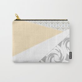 Light grey patchwork beige Carry-All Pouch