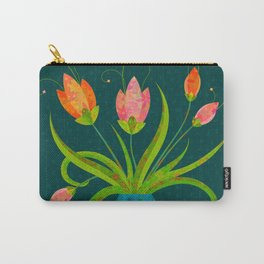 Tulips in Blue Vase on Inky Teal Carry-All Pouch