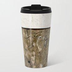 Cream Cement and Gnarled Wood Patterns Metal Travel Mug