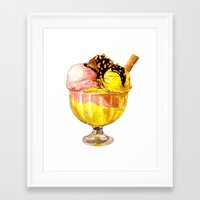 icecream Framed Art Prints featuring Icecream by Hannah Catherine