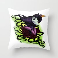 maleficent Throw Pillows featuring Maleficent by Katie Simpson a.k.a. Redhead-K