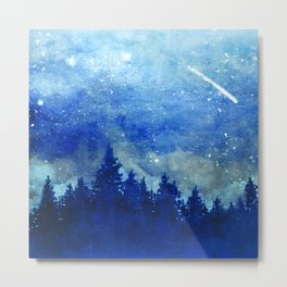Night Sky, Meteor Shower, Forest at Dusk Metal Print