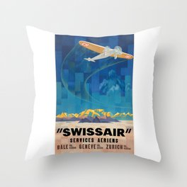 1925 Swissair Air Services Airline Poster Throw Pillow