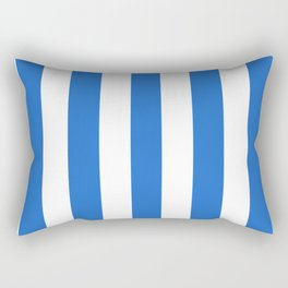 Celtic blue - solid color - white vertical lines pattern Rectangular Pillow