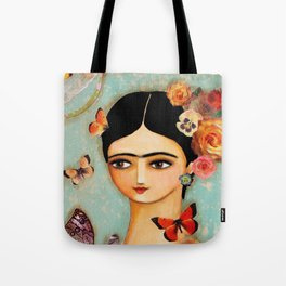 mexican folk art Collage with Butterfly and Rose Tote Bag